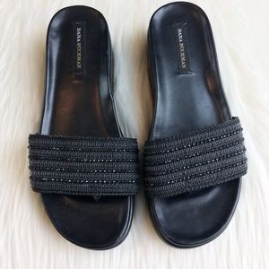 Dana Buchman Black Beaded Slides